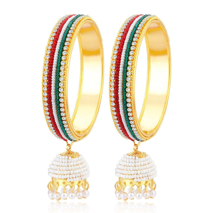 Sukkhi Cluster Gold Plated Bangle Set with Hanging Zhumka for Women