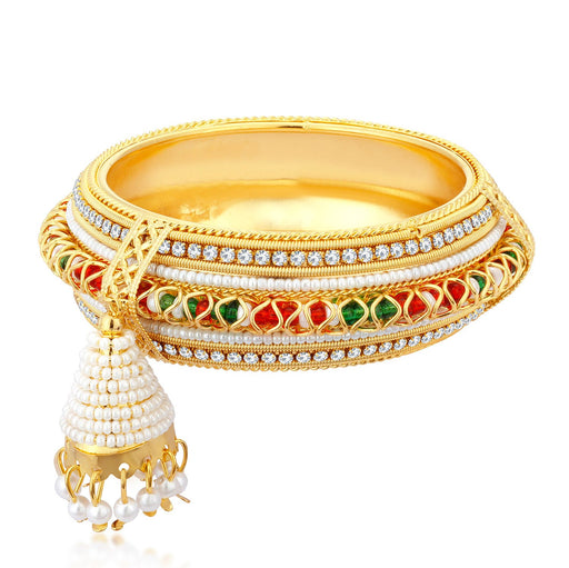 Sukkhi Stylish Gold Plated Bangle Set with Hanging Zhumka for Women
