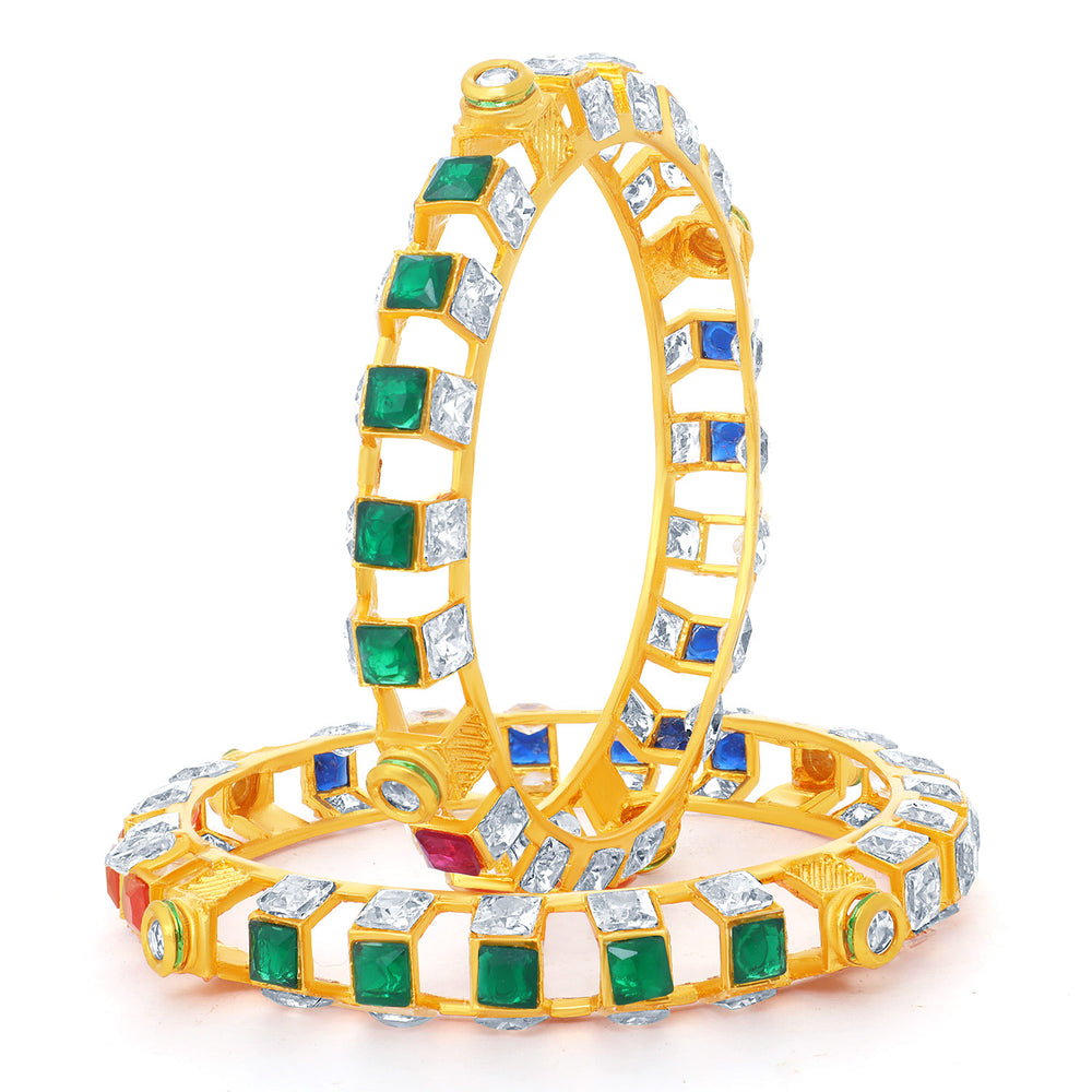 Sukkhi Fancy Square Gold Plated Bangles For Women (Set of 2)