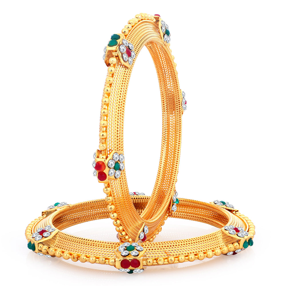 Sukkhi Glittery Gold Plated Bangles For Women (Set of 2)