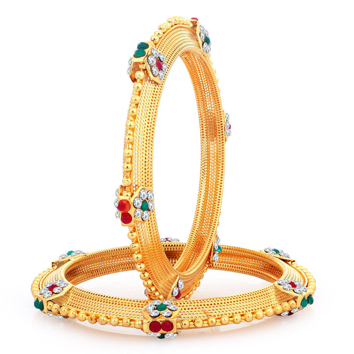 Sukkhi Glittery Gold Plated Bangles Set For Women - 2.4