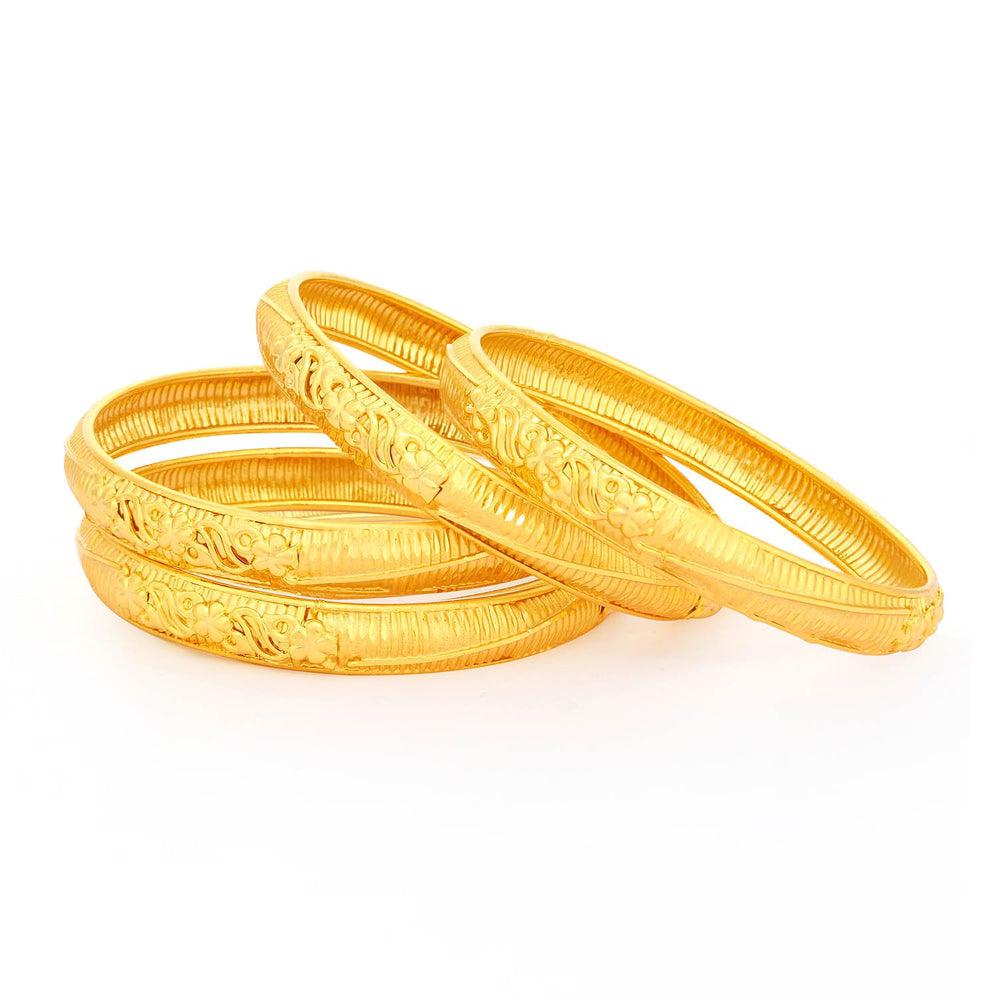 Sukkhi Dazzling Gold Plated Floral Bangles For Women (Set of 4)