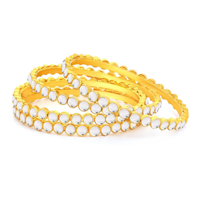 Sukkhi Glimmery Gold Plated Kundan Bangles For Women (Set of 4)