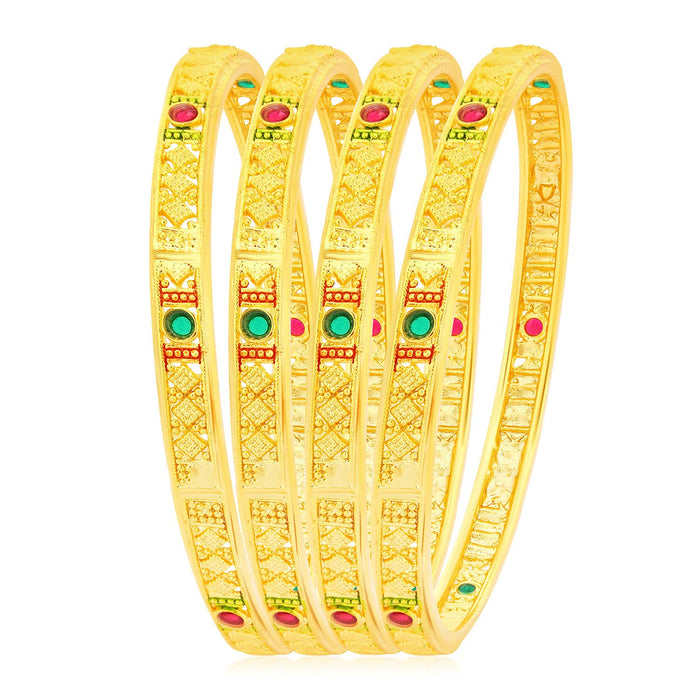 Sukkhi Excellent Gold Plated Meenakari Bangles For Women (Set of 4)