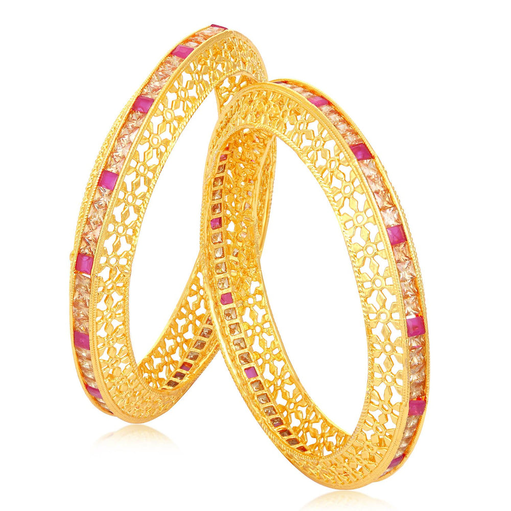 Sukkhi Gleaming Gold Plated Floral Bangle Set For Women (Set of 2)