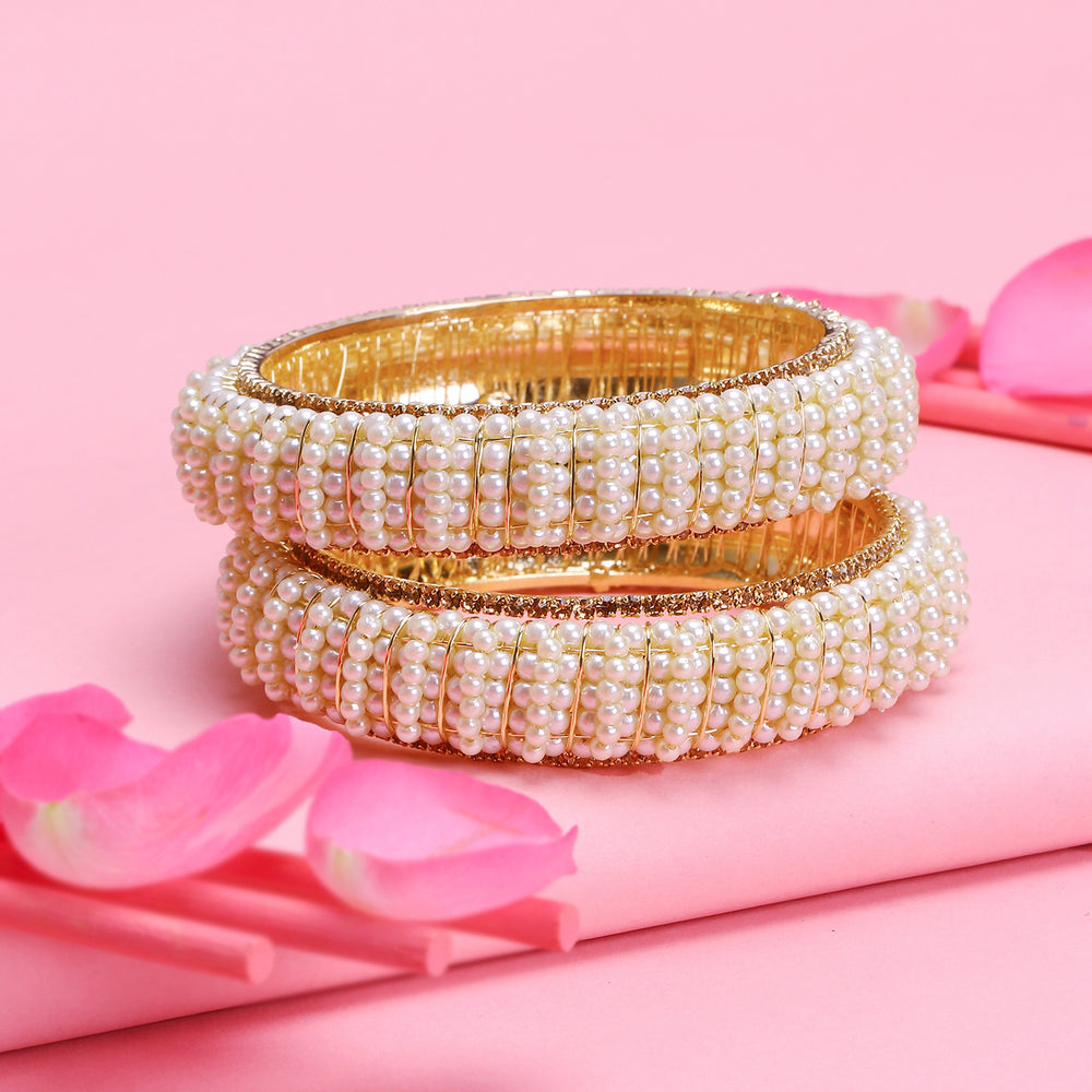 Sukkhi Glorious Gold Plated Pearl Bangle for Women (Set of 2)
