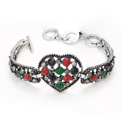 0786 Sukkhi Heart Shape Oxidised Silver Bracelet With Multi Colored Stones For Women