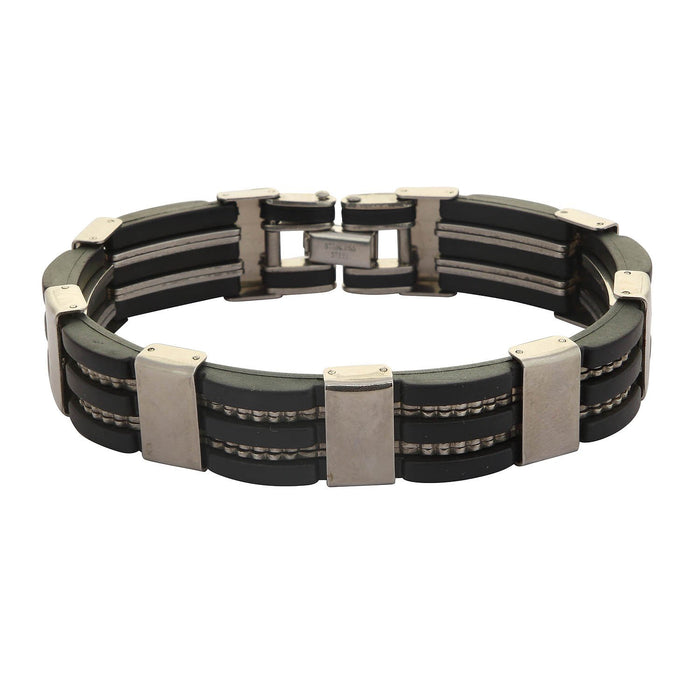 Sukkhi Exclusive Black Stainless Steel Leather Bracelet For Men