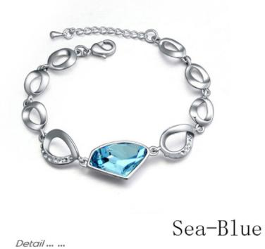Sukkhi Attractive Crystal Stone Rhodium Plated Aqua Blue Bracelet for Women