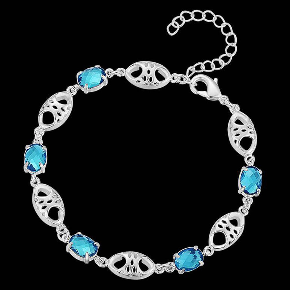 Sukkhi Exclusive  Crystal Stone Rhodium Plated Aqua Blue Bracelet for Women