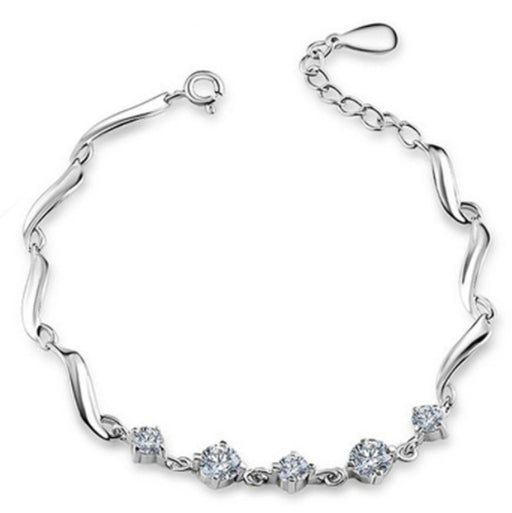Sukkhi Exquisite Crystal Stone Rhodium Plated Bracelet for Women