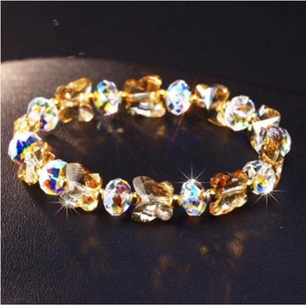 Sukkhi Exotic Butterfly Crystal Stone Rhodium Plated Multi Colour Bracelet for Women