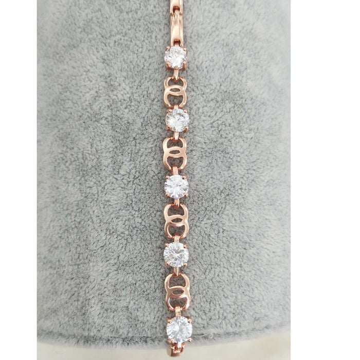 Sukkhi Graceful Cubic Zirconia Pink Gold Plated Bracelet for Women