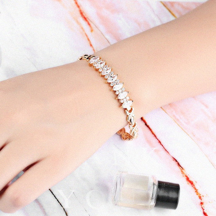 Sukkhi Cluster Cubic Zirconia Pink Gold Plated Bracelet for Women
