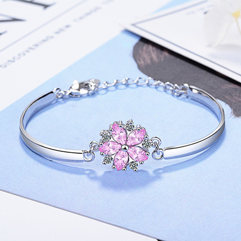Sukkhi Exclusive Adjustable Pink Crystal Rhodium Plated Bracelet for Women