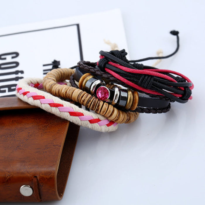 Sukkhi Dazzling Adjustable Leather Multi Colour Bracelet for Men