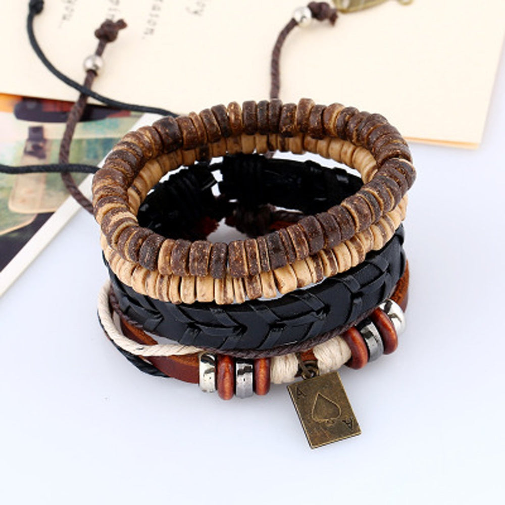 Sukkhi Intricately Leather Brown Bracelet for Men