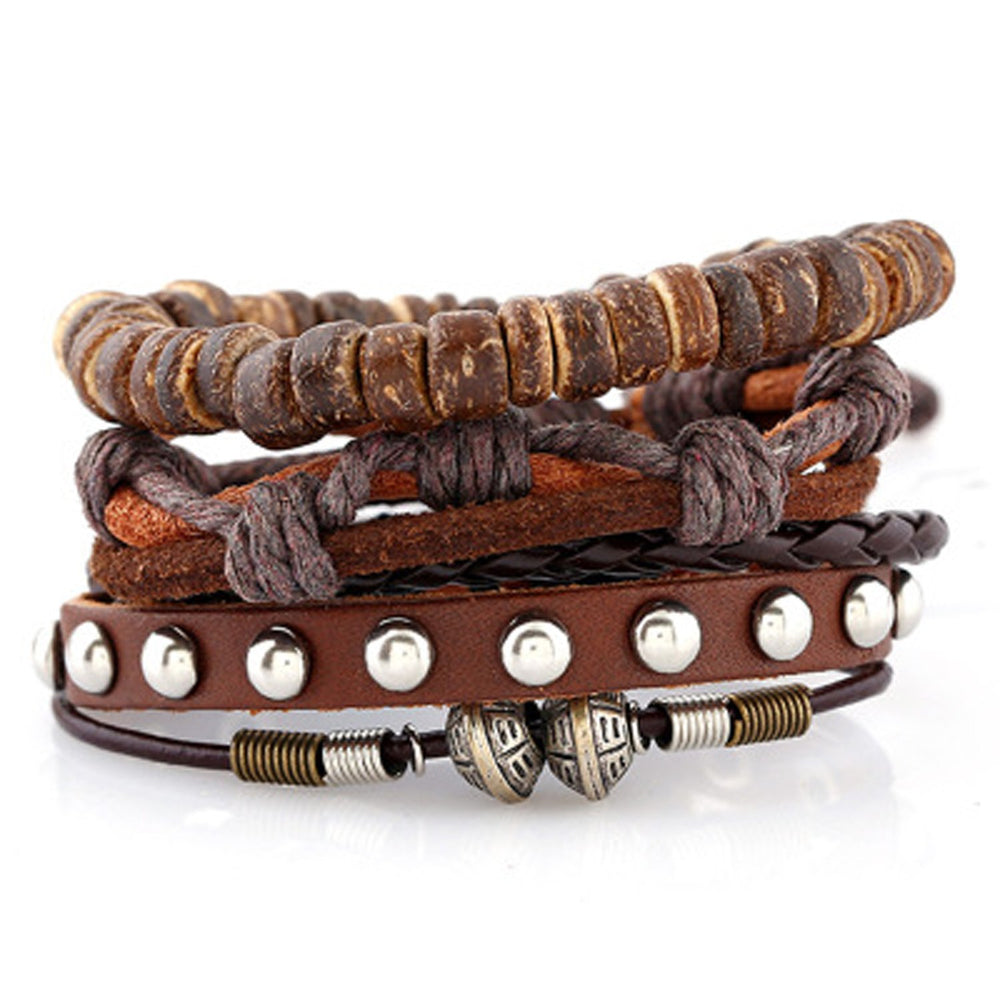 Sukkhi Adjustable Eye-catchy Brown Leather Bracelet for Men