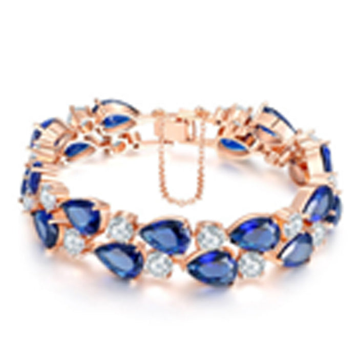 Sukkhi Designer Adjustable Blue Crystal Gold Plated Bracelet for Women