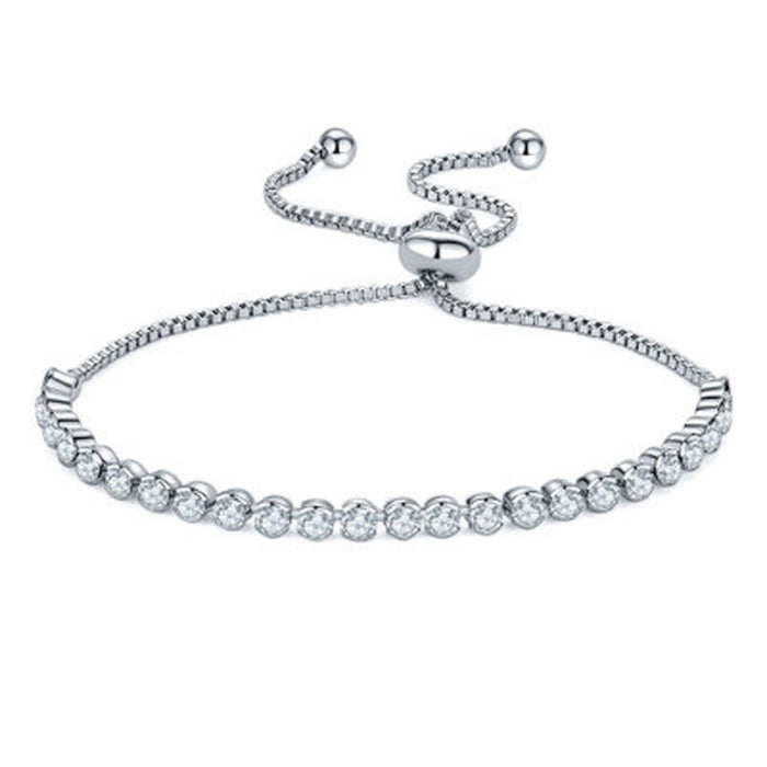 Sukkhi Exquisite Adjustable Crystal Rhodium Plated Bracelet for Women