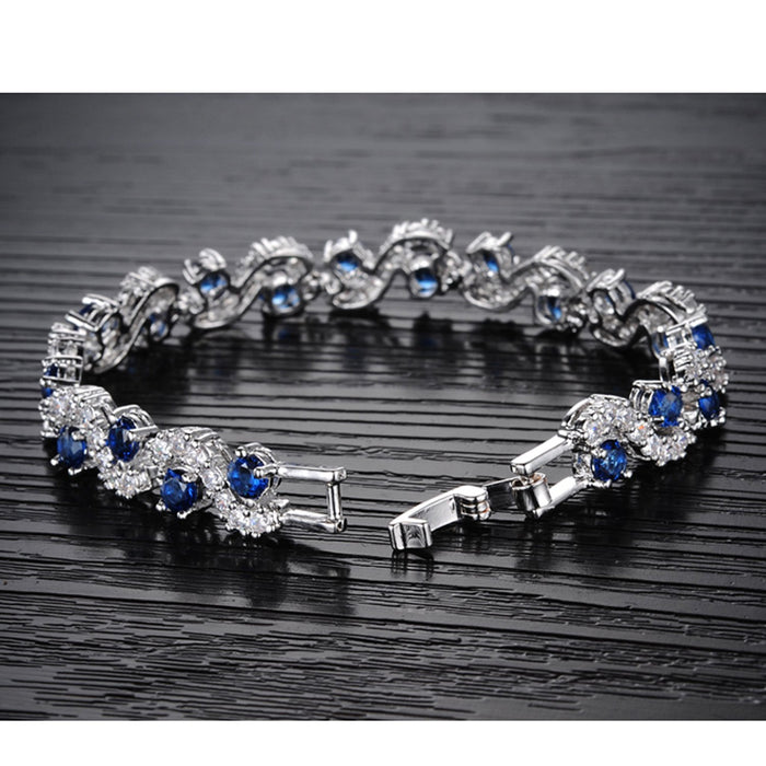 Sukkhi Dazzling Crystal Rhodium Plated Bracelet for Women