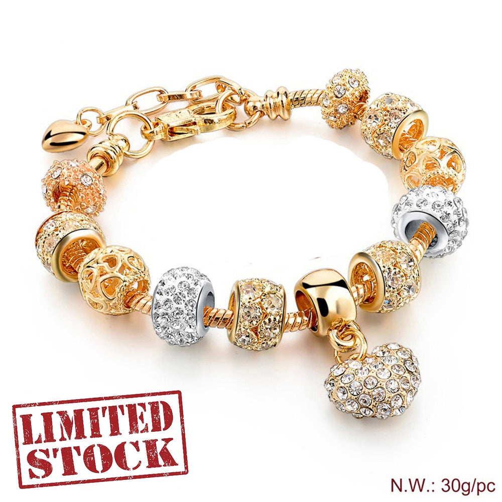 Sukkhi Adorable Valentine Heart Crystal Gold Plated Multi Colour Bracelet for Women