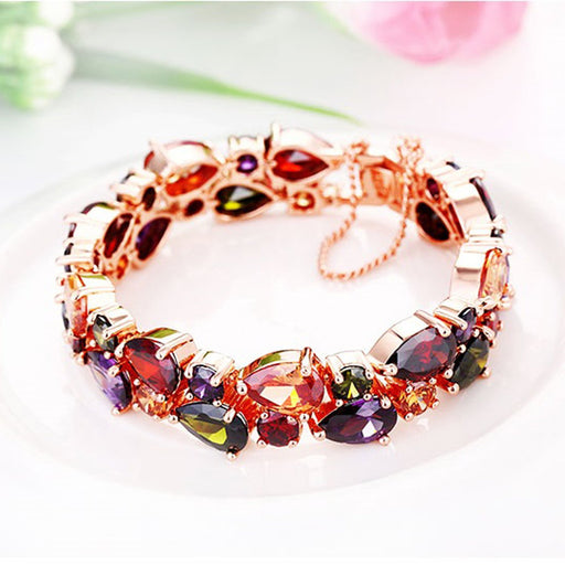 Sukkhi Glimmery Pear Crystal Gold Plated Multi Colour Bracelet for Women