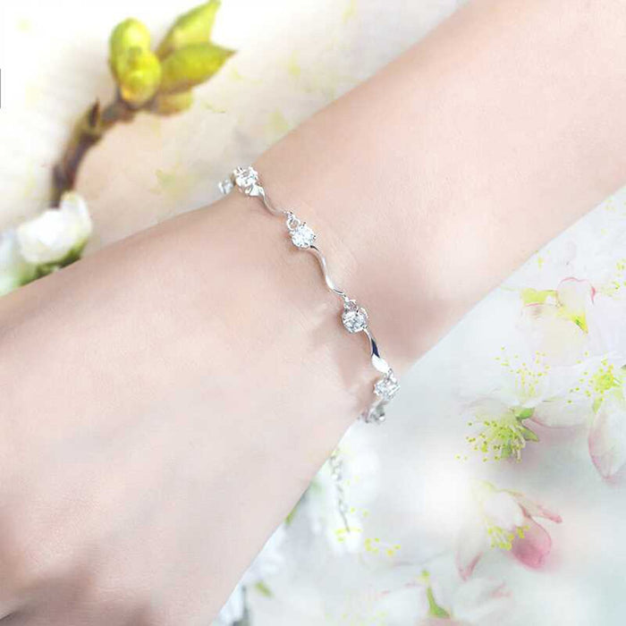 Sukkhi Fashion Crystal Rhodium Plated Bracelet for Women