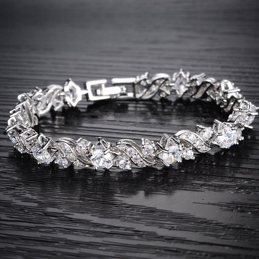 Sukkhi Modern Crystal Rhodium Plated Bracelet for Women