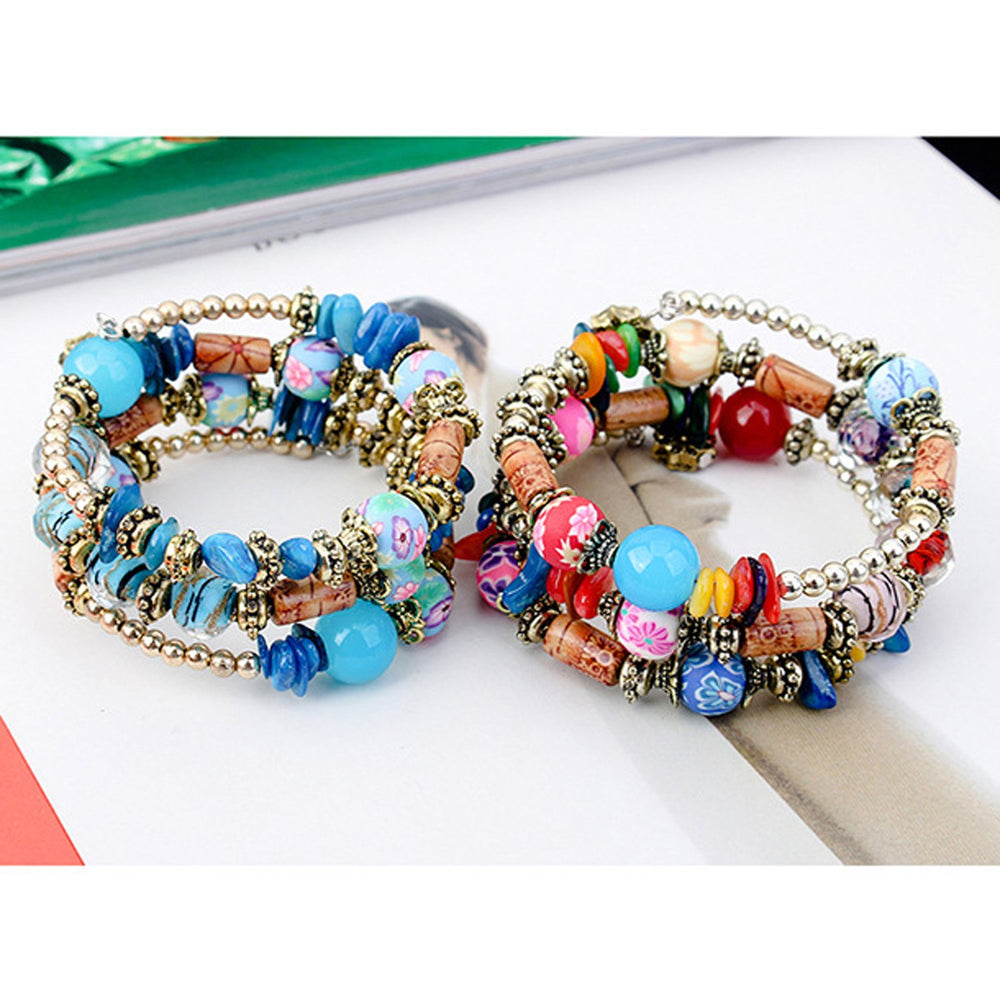 Sukkhi Dazzling Beads Rhodium Plated Multi Colour Bracelet for Women