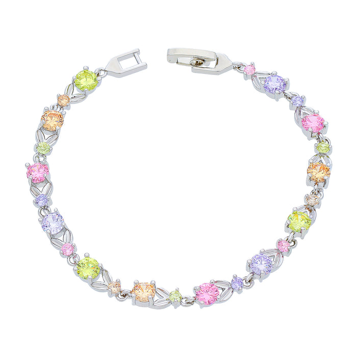 Sukkhi Lavish CZ Colourful Rhodium Plated Bracelet for Women