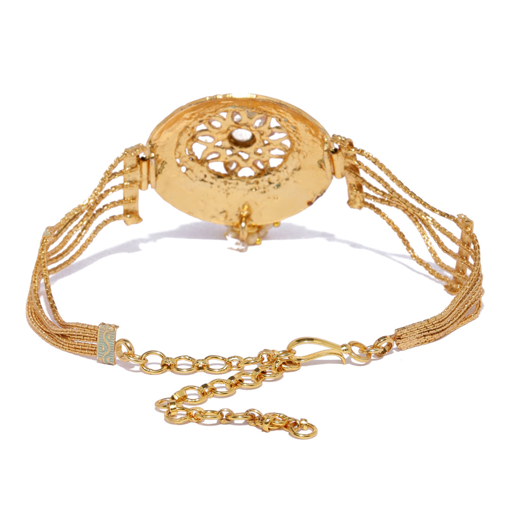 Sukkhi Beguiling Mint Meena Collection Gold Plated Bajuband for Women