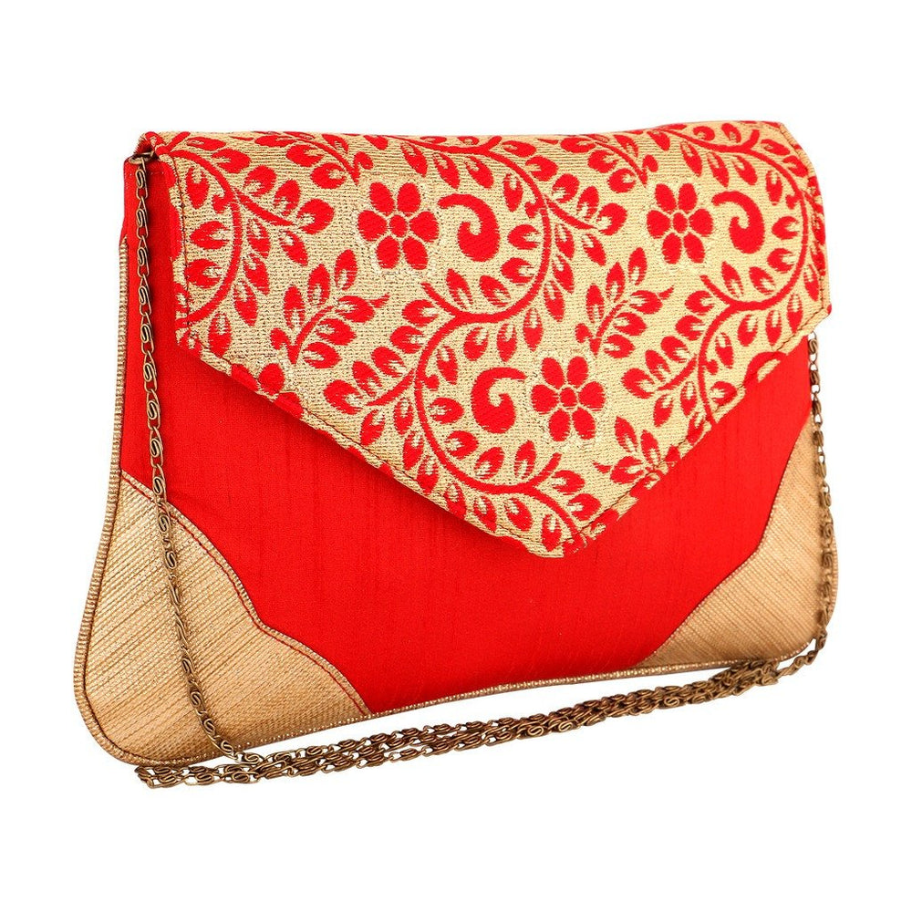 Sukkhi Red and Gold Oversized Clutch Cum Sling Bag