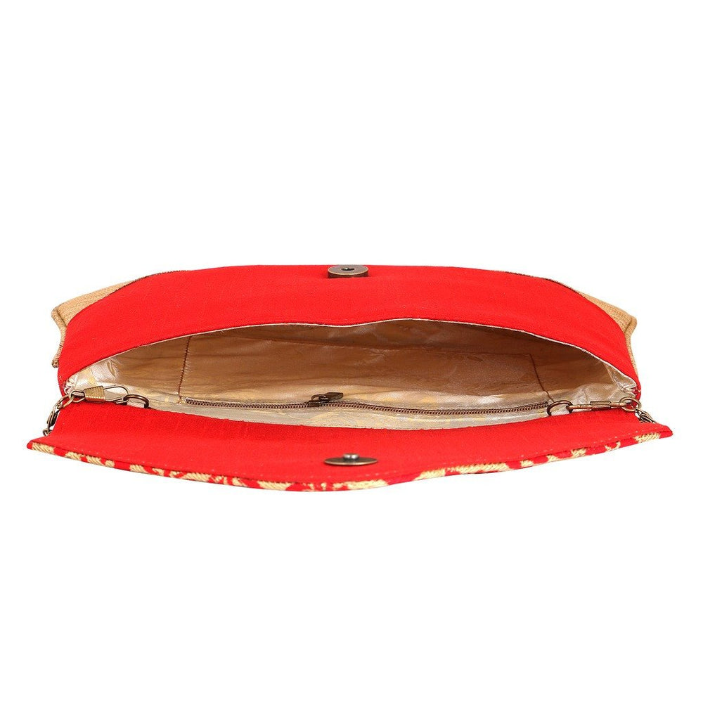 Sukkhi Red and Gold Oversized Clutch Cum Sling Bag-2