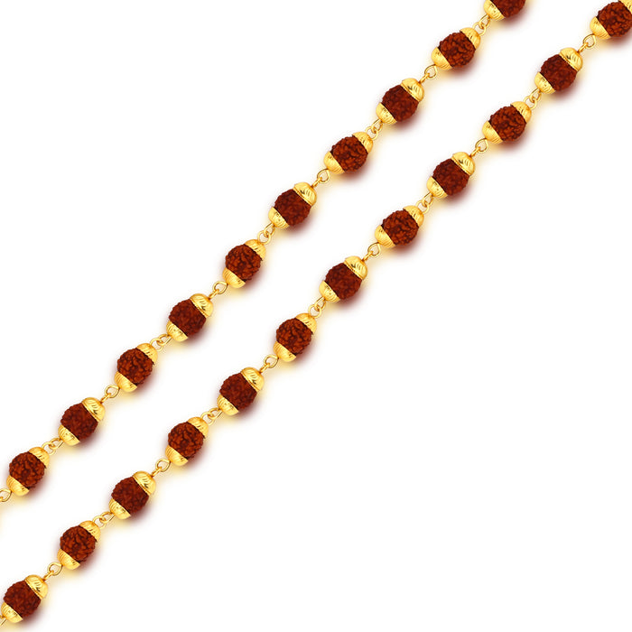 Sukkhi Astonish Gold Plated Rudraksha Mala With Shiv Trishul and Damru Chain for Men
