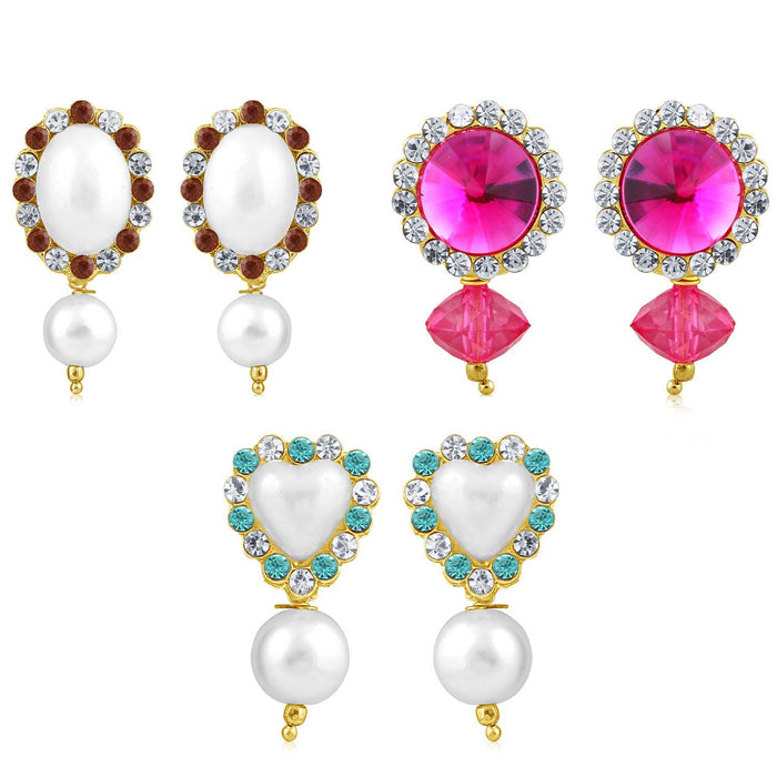Sukkhi Divine Pearl Gold Plated Set of 3 Pair Drop Earring Combo For Women