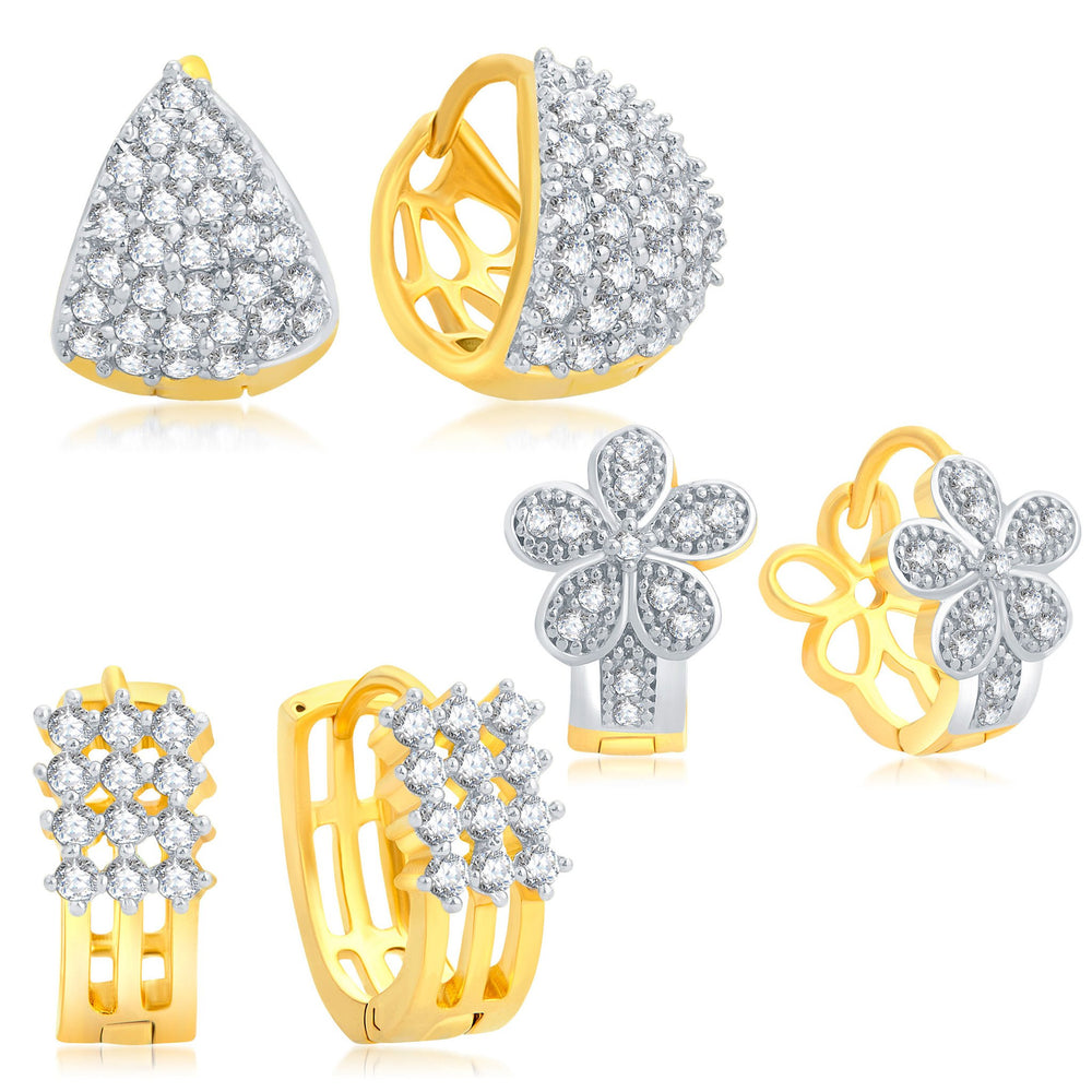 Pissara Eye-Catchy Gold Plated CZ Set of 3 Pair Stud Earring Combo For Women