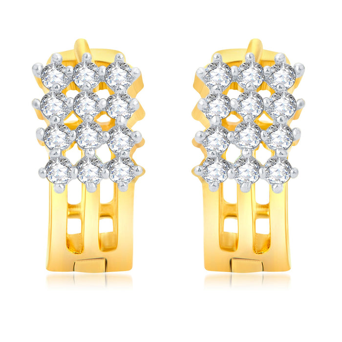 Pissara Eye-Catchy Gold Plated CZ Set of 3 Pair Stud Earring Combo For Women-1