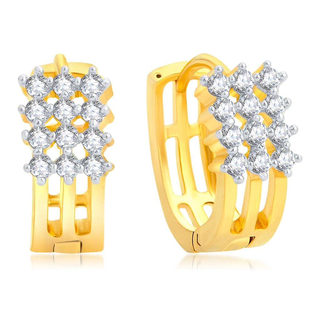 Pissara Eye-Catchy Gold Plated CZ Set of 3 Pair Stud Earring Combo For Women-2