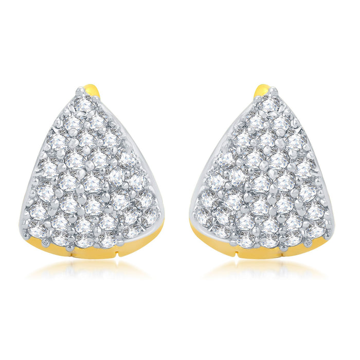 Pissara Eye-Catchy Gold Plated CZ Set of 3 Pair Stud Earring Combo For Women-5