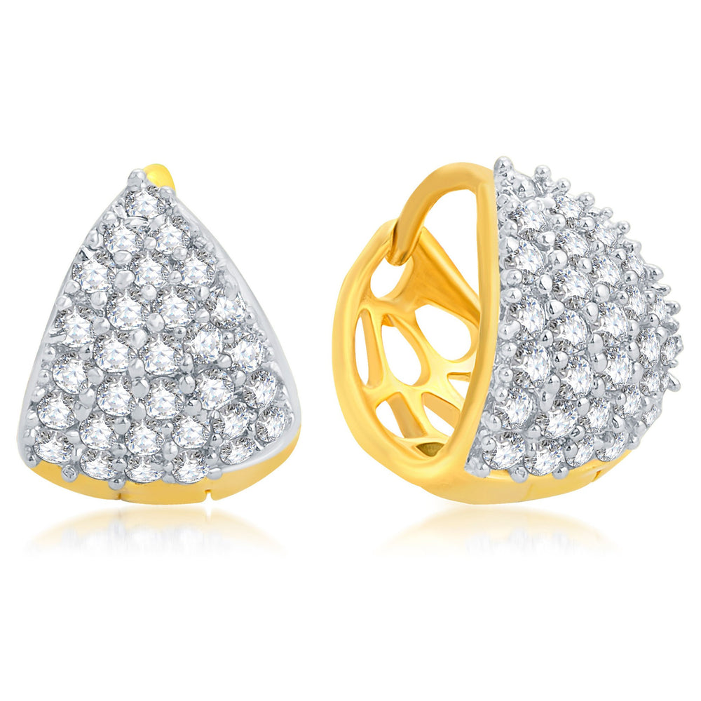 Pissara Eye-Catchy Gold Plated CZ Set of 3 Pair Stud Earring Combo For Women-6