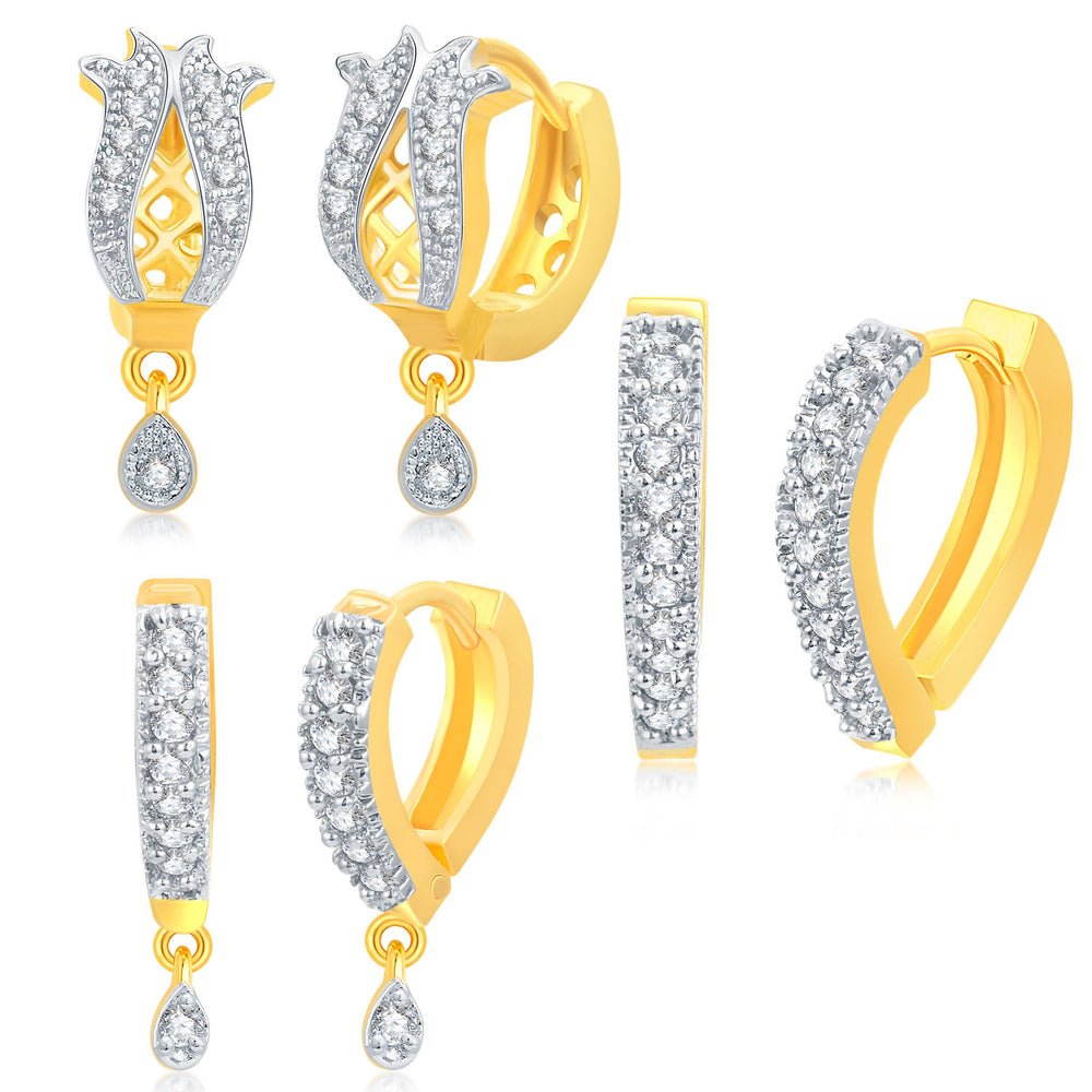 Pissara Enchanting Gold Plated CZ Set of 3 Pair Drop Earring Combo For Women