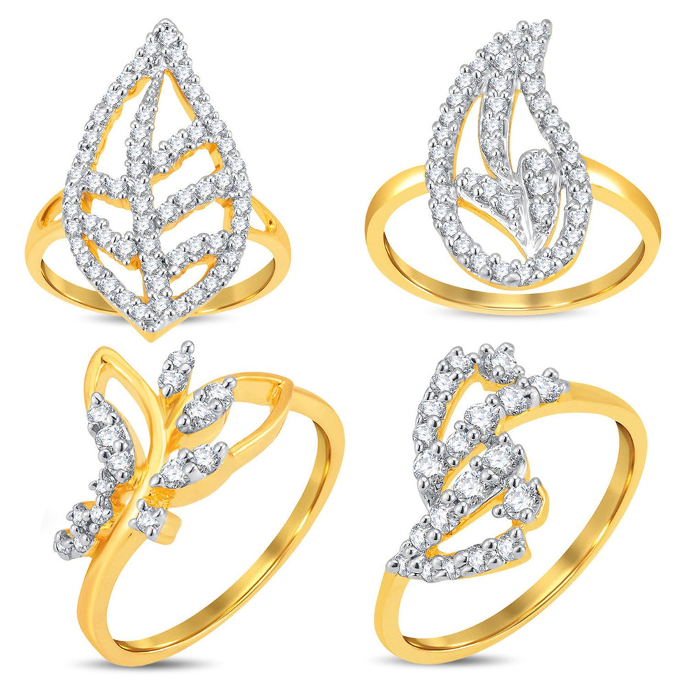 Pissara Pleasing Gold & Rhodium Plated CZ Combo With Rose Box For Women Pack Of 4