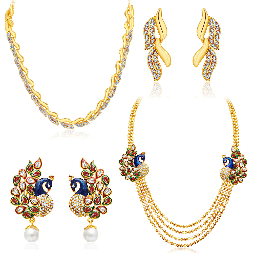Sukkhi Sublime 4 String Peacock Gold Plated AD Necklace Set Combo For Women Pack Of 2