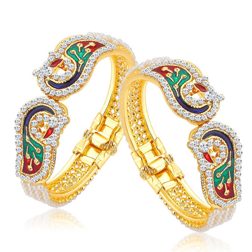 Sukkhi Sublime Peacock Gold Plated AD Combo Kada For Women Pack Of 2