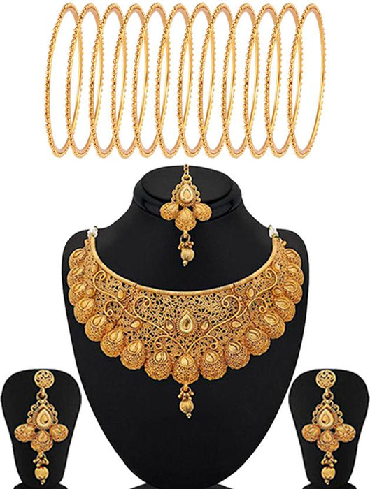 Sukkhi Classic Gold Plated Necklace Set Bangle Jewellery combo (Set of 2)