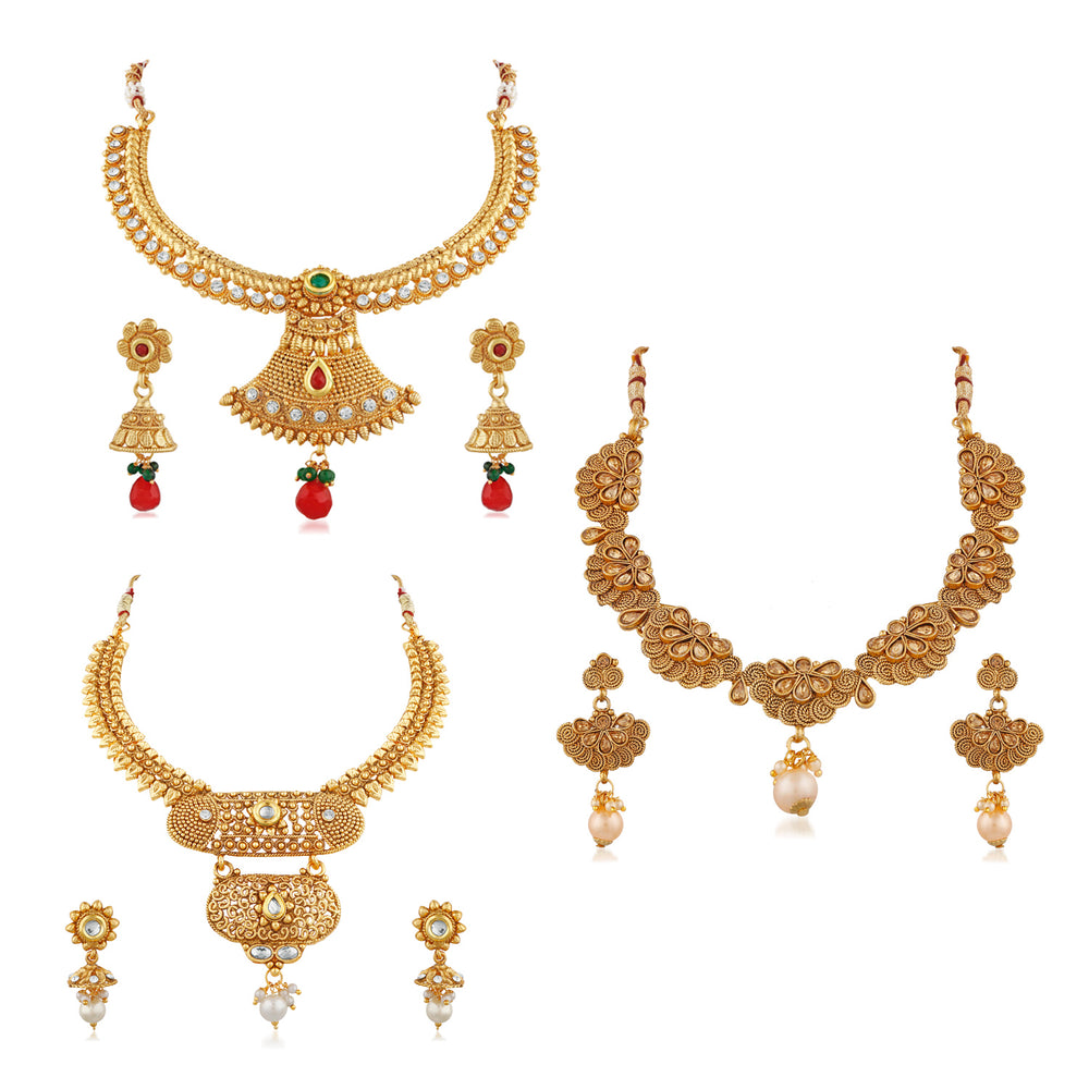 Trushi Ethnic Gold Plated Designer Combo Of Three Necklace Set For Womens
