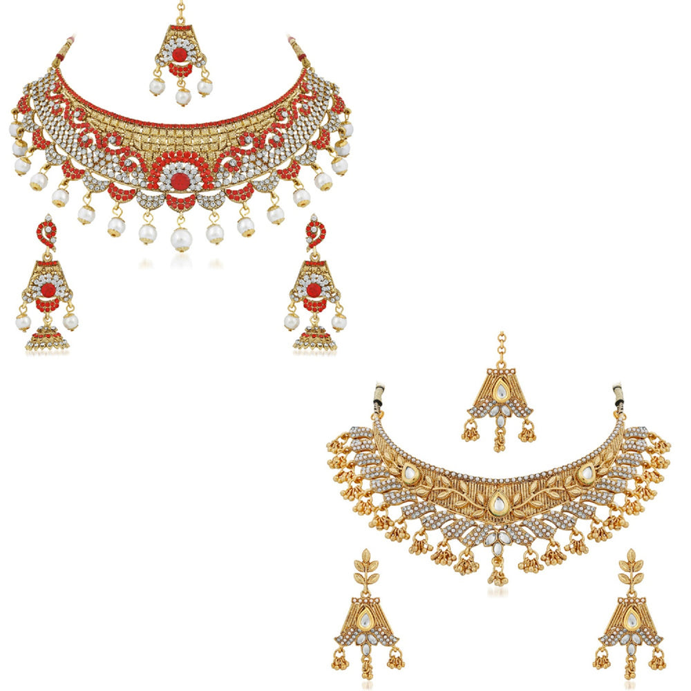 Trushi Glamorous Gold Plated Combo Of Two Designer Necklace Set For Women