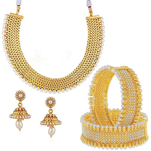 Sukkhi Traditional Gold Plated Necklace Set & Bangle Combo For Women