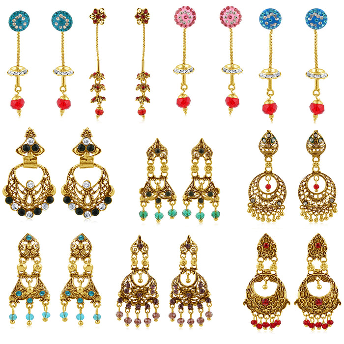 Sukkhi Gitzy Gold Plated Earring Combo for Women (Set of 10)